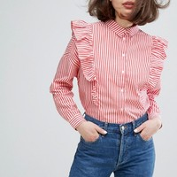 Monki Stripe Ruffle Shirt at asos.com