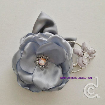 Silver flower fascinator, bridesmaid, bridal head piece, satin flower hair clip, autumn wedding, grey, gray butterfly fascinator