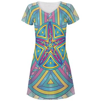 Mandala Trippy Stained Glass Starfish Juniors V-Neck Beach Cover-Up Dress