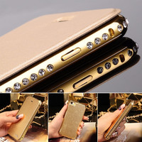 "Luxury Aluminum Metal Bumper Flip Leather Case Cover for iPhone 5 5S 6 4.7"" Plus = 1931663428"