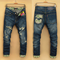 Winter Men Rinsed Denim Pants Jeans [6528598915]