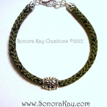 Camouflage Rope Bracelet with Silver Flower Bead
