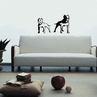 WALL VINYL STICKER DECAL MURAL Pitbull Dogs Animal   A324