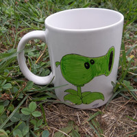 Plantz vs. Zombies Hand-Drawn Ceramic Mug, Pea Shooter: 7th in a Series of 7 Coffee, Hot Chocolate, Beverage Mug