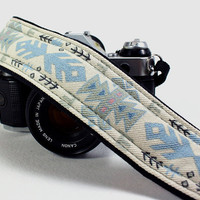 Tribal, dSLR Camera Strap, OOAK,  Native, SLR, Denim, Blue, Sage Green