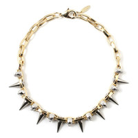London Calling Skull & Spike Choker - Gold/Rhodium/Silver Spikes