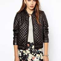 Mango Quilted Zip Through Bomber Jacket