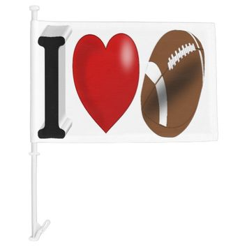 I Love Football 3D Car Flag
