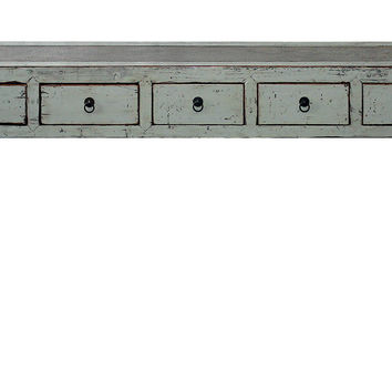 Rattan-Top Gray Console Table