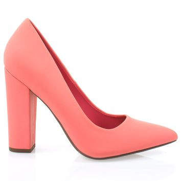 Ogden Coral Pu By Not Just A Pump, Women Retro Velvet Pump On Chunk Block High Heel