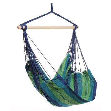 Outdoor Hammock Hanging Chair Air Swing Chair Garden Solid Wood Hammock Chair (Green)