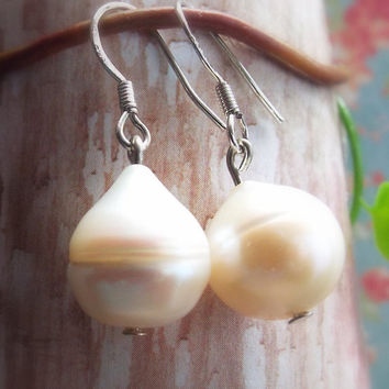 Cultivated Pearl Earrings, 14mm Pearl Drop Earrings, Bridal Jewelry, Bridal Earrings