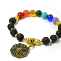 Seven Chakras Prayer Beads, Black Lava Stone, Semi Precious Gemstones with Gold Colored Yin Yang Lucky Coin , Perfect Gift