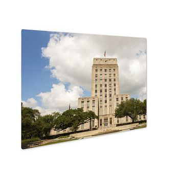 Metal Panel Print, Houston City Hall Building With Fountain And Flag Texas United States
