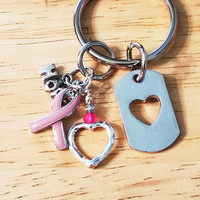 Womens Keychains, Keychains for Women, Hope Keychain, Breast Cancer Awareness Keychain, Keychain, Key Chain, Pink Ribbon Keychain, Pink