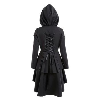 Gothic Vintage Hooded Trench Coat