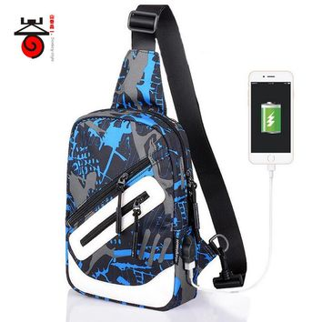 Senkey style Men Single Shoulder Bag External USB Charging Waterproof Oxford Chest Pack Crossbody Casual Students Messenger Bag