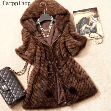 Spring Autumn Women's Genuine Real Knitted Mink Fur Coat Jacket Winter Women Fur Outerwear Coats Overcoat 3XL
