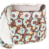 Pleated Cross Body Bag, Small Messenger Bag, Brown and Aqua Mod Floral Print, Ready to Ship