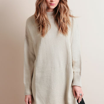 Arlo Oversized Tunic Sweater In Beige