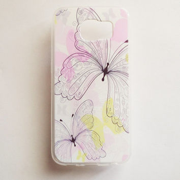Samsung Galaxy S6 Flower Butterfly Case Soft Plastic Galaxy S6 Back Cover Floral Pattern Samsung S6 Cover