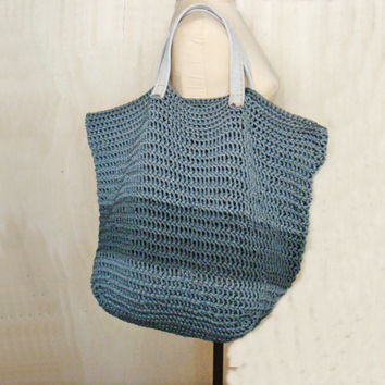 PDF Crochet PATTERN Large Tote Bag with Leather Handles