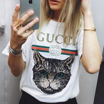 GUCCI Fashion Unisex Leisure Cat Embroidery Sequin Print T-Shirt Top Blouse White I