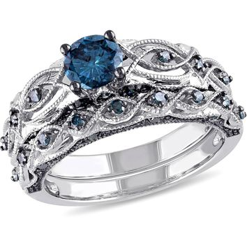Tangelo 1 Carat T.W. Treated Blue Diamond 10kt White Gold Vintage Filigree Bridal Set