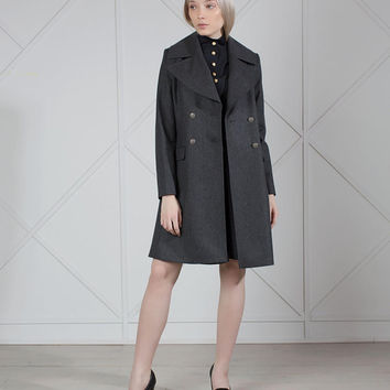 Wool Coat Women, Military Jacket, Grey Wool Coat, Trench Coat, Wool Jacket, Winter Coat, Long Coat, Raincoat Great Coat Double Breasted Coat