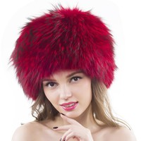 Unisex Fox Fur Hats Headgear Russian Outdoor Beanies Cap Ladies Raccoon Fur Winter Russian Earmuffs Hat With Two Fox Fur Tail