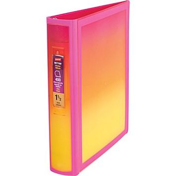 1.5 Staples® Better® Non View Binder with D-Rings, Pink/Yellow Gradient