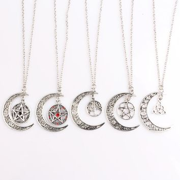 SC Fashion Evil Forces Supernatural Pentagram Dean Necklaces Witch Protection Star Amulet Yggdrasil Life Tree Pentagram Necklace
