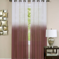 "Quintessence Set of 2 Ombre Sheer Window Curtain Panels (52"" x 63"") - Burgundy"