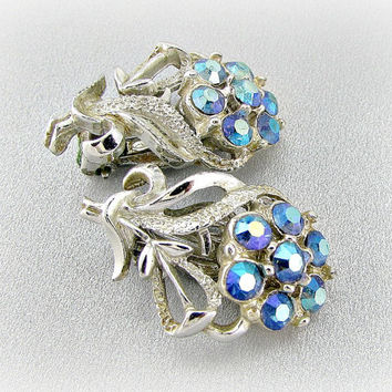 Vintage Silver Flower Earrings, Aurora Borealis Blue Rhinestone Earrings, Blue Flower Clip-on Earring, 1950s 1960s Mad Men Costume Jewelry