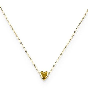10K Yellow Gold Petite Heart Charm Necklace