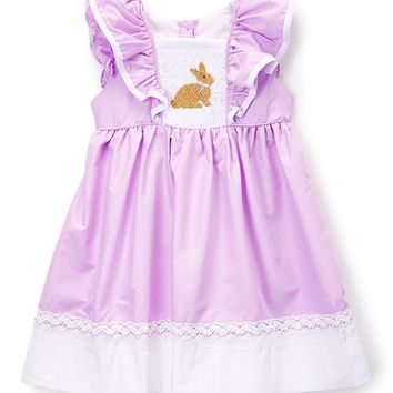 Smocked or Not Purple & Brown Bunny Smocked Yoke Dress - Infant