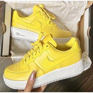 Nike Air Force 1 Fashion New Hook Sports Leisure High Quality Shoes Women Yellow