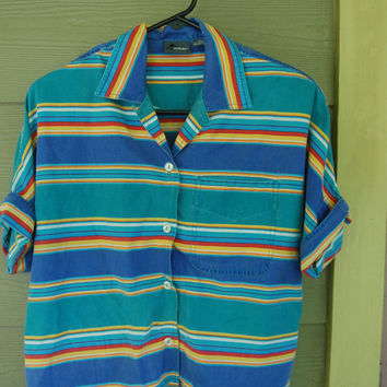 Vintage 80s Striped Southwest Short Sleeve Liz Claiborne Camp Shirt Top Blouse Size S