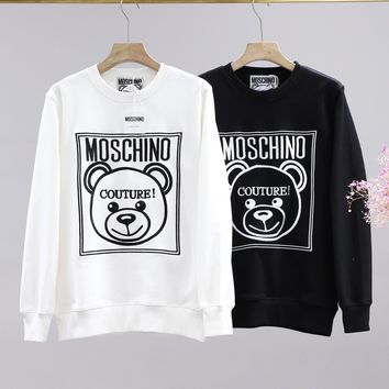 Moschino fashion casual couple embroidered little bear logo sweater with round collar