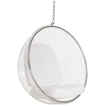 Ring Clear Acrylic Hanging Lounge Chair White, Black or Silver