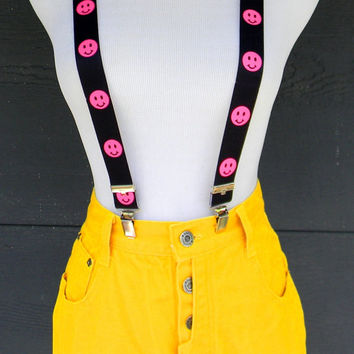 Vintage Denim Cut Offs - 80s BRIGHT Yellow Jean Shorts - MEGA High Waisted Cut Off/Frayed/Button Fly SHORT Shorts by Bonjour - Size 3/4