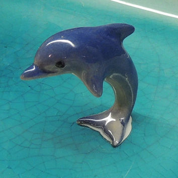 Vintage 1970s Porcelain Dolphine Hagen Renaker blue Porpoise jumping Dolphin figurine miniature made in America