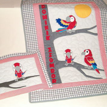 Bird Baby Quilt, Parrot Organic Handmade Blanket, Personalized Applique Quilt, Pillowcase
