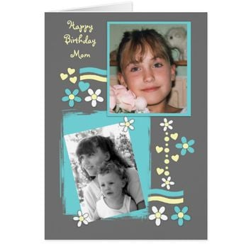Birthday Card for Mom Photo Card floral and hearts