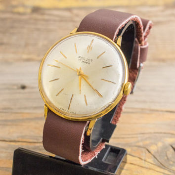 Vintage Poljot mens watch, poljot dress watch, gold plated russian watch, ussr ccp soviet watch