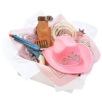 Girls Cowgirl Costume Box with Pink Cowboy Hat, Toy Gun & other Cowboy Accessories for Kids