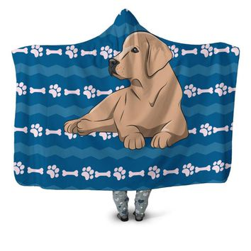 Labrador Hooded Blanket - Labrador With Bone & Paw Print Hooded Blanket