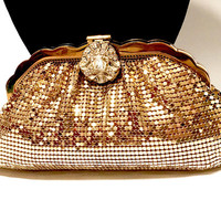 Vintage Whiting And Davis Mesh Bag, Gold Tone, Evening Bag, Clear Rhinestone Jeweled Clap, Clutch Bag, Collectible Vintage Bag