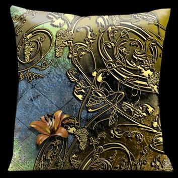 Lama Kasso 111 Como Gardens Lime Green to Blue with Antique Gold Vines and Orange Accents 18 x 18 Satin Pillow