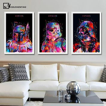 Star Wars 7 Minimalist Art Canvas Poster Painting Darth Vader Stormtrooper Movie Wall Picture Print Home Bedroom Decoration